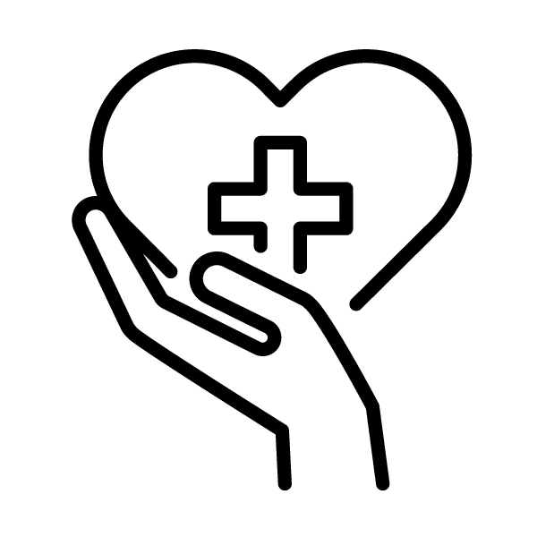 Do Something Good - Hand Holding Heart With Cross Icon